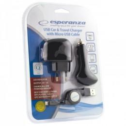 Esperanza 3u1 adapter/auto punjač/Micro USB kabl EZ116