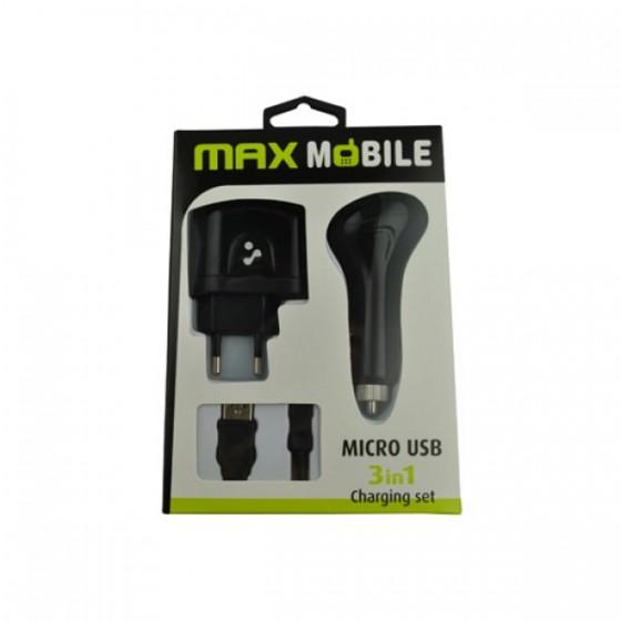 Max Mobile punjač set 3 u 1 micro USB 246