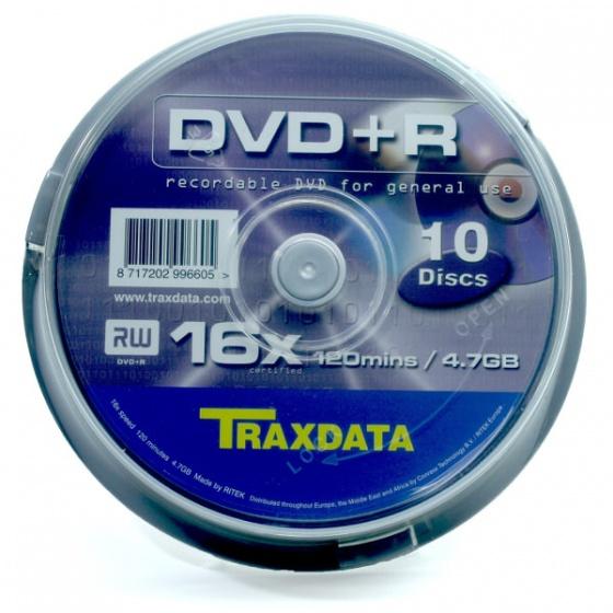 Traxdata DVD+R 10/1 spindle, 16X, 4,7GB